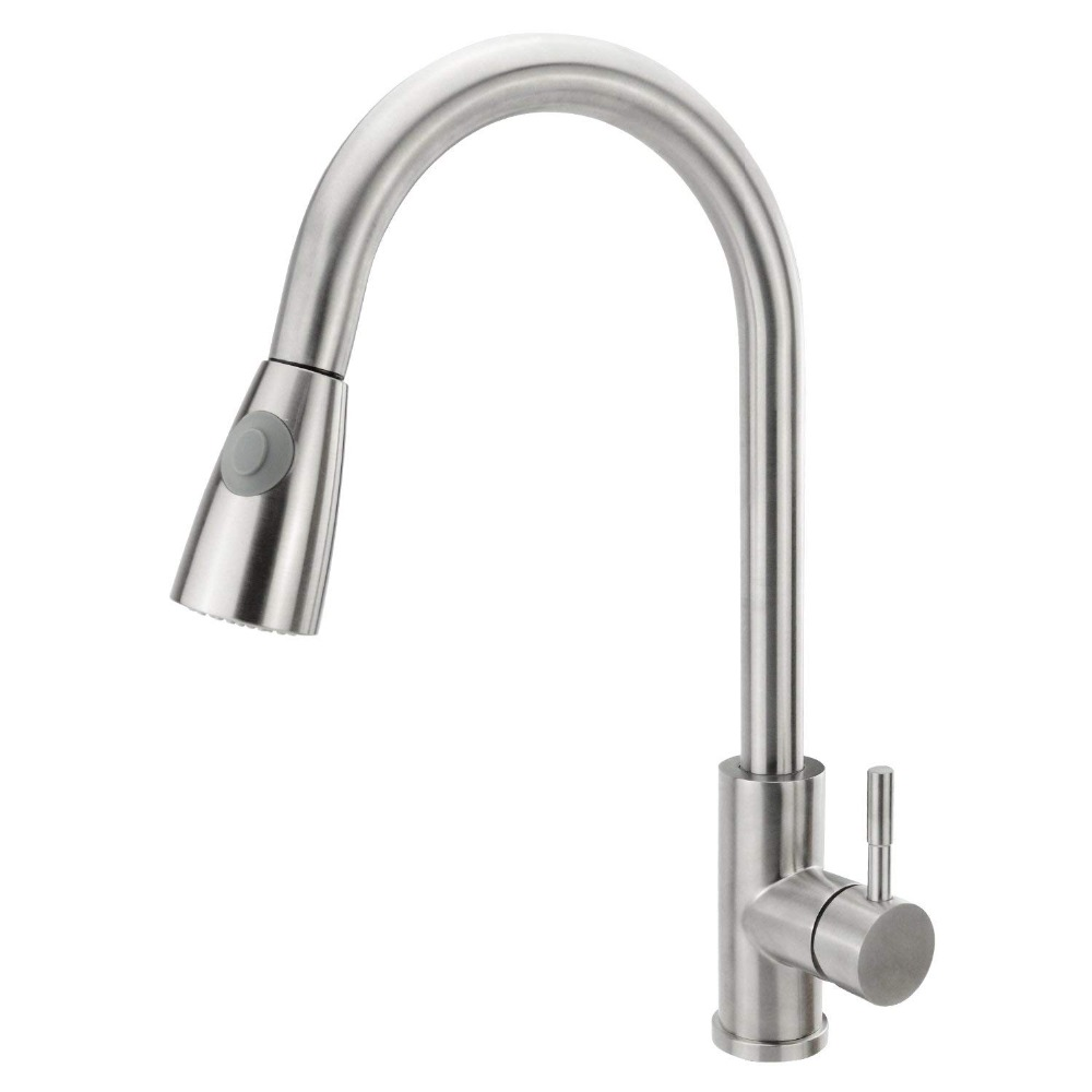 Single Handle Kitchen Faucet With Pull Down Sprayer Stainless Steel Brushed Nickel Kitchen Faucet With Sprayer, Basin Faucet