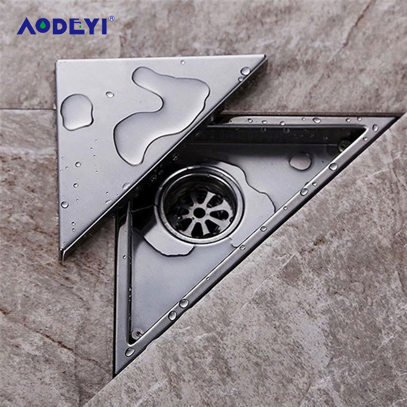 AODEYI Hidden Type Triangle Tile Insert Floor Waste Grates Shower Drain 232mm*117mm 304 Stainless Steel Floor Drain11-184