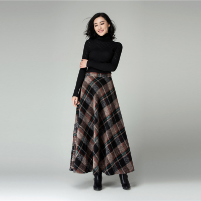 New Fashion wool skirt women's casual long skirt high waist plaid ...