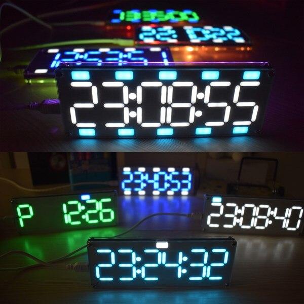 DIY 6 цифр светодиодный Большой Экран два-Цвет цифровой трубки настольные часы комплект touch Управление 6 цветов