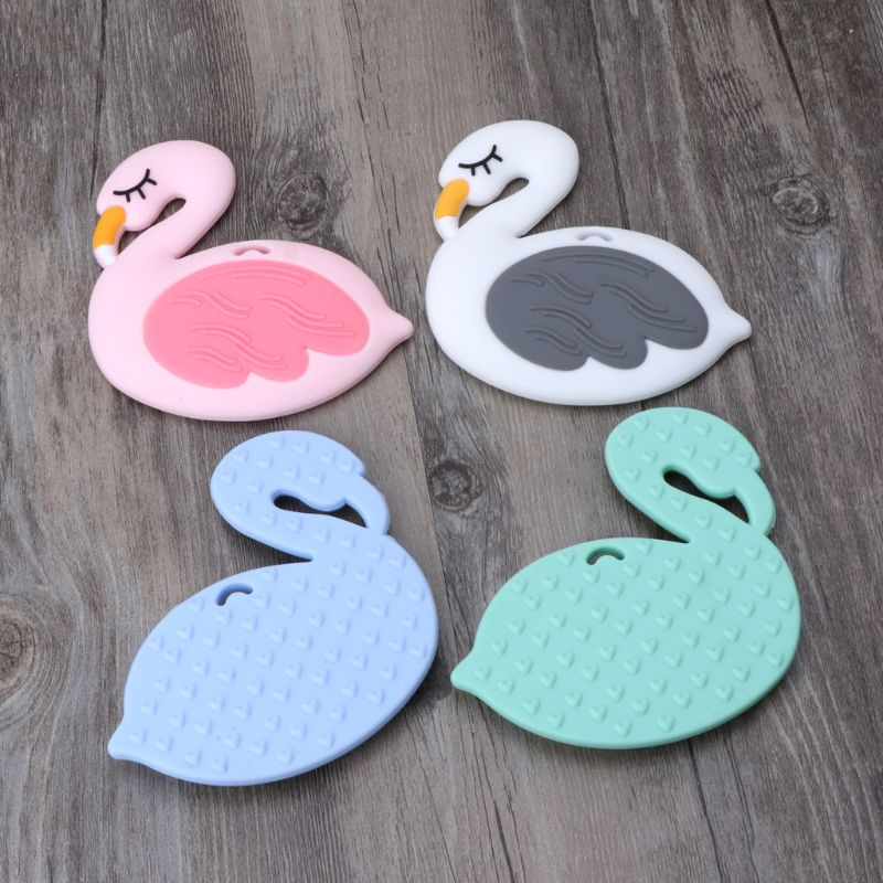 Silicone Flamingo Teether Cartoon Swan DIY Teething Necklace Pacifier Clip Chains Accessories Pendant Teether New
