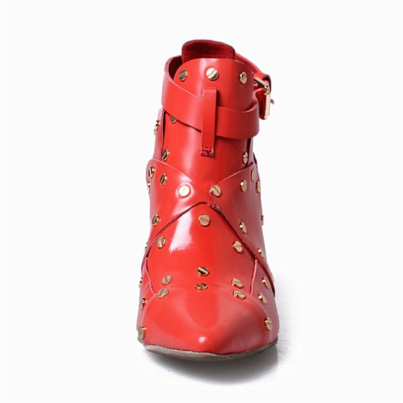 Mujeres Hebilla Botas Boda Mabaiwan Verano De rojo Botines Bombas azul Zapatos Negro Correas Remache Altos Vestido Tacones Rojo Mujer xgXwqnBp