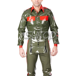 Lateks mężczyzna jednolita top lateks armia człowiek płaszcz koszula