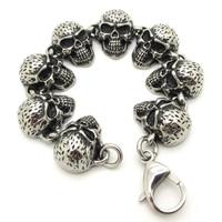 Huge Heavy Punk Biker Pock Terrible Ugly Skull Bagle Soild Punk Stainless Steel Punk Bands Bracelet