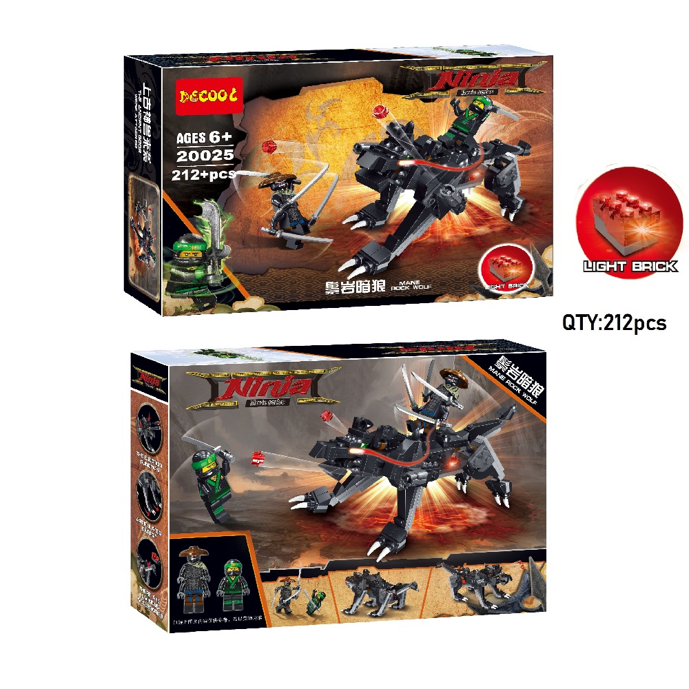 Decool 20025 212pcs Light bricks Ninjagoes movie series The Ancient GODS WERE ATTACKED Mane Rock Wolf for lego for minifigure old ninja flash game