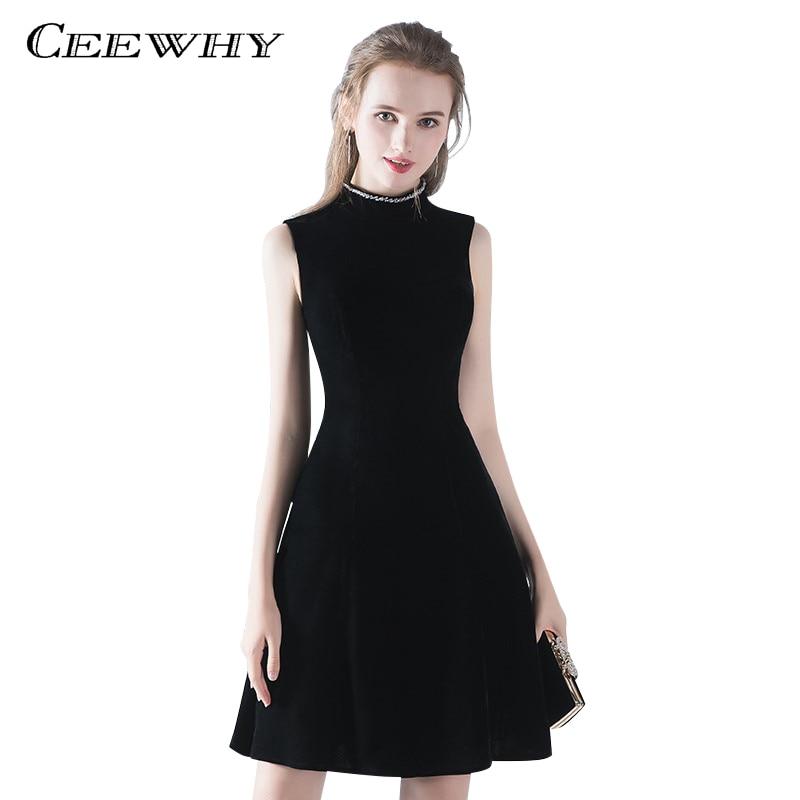 los más valorados estilo limitado moderno y elegante en moda € 63.36 30% de DESCUENTO|CEEWHY Sexy pequeño Vestido negro corto vestidos  de cóctel Vestido Formal de fiesta de terciopelo Vestido de graduación ...