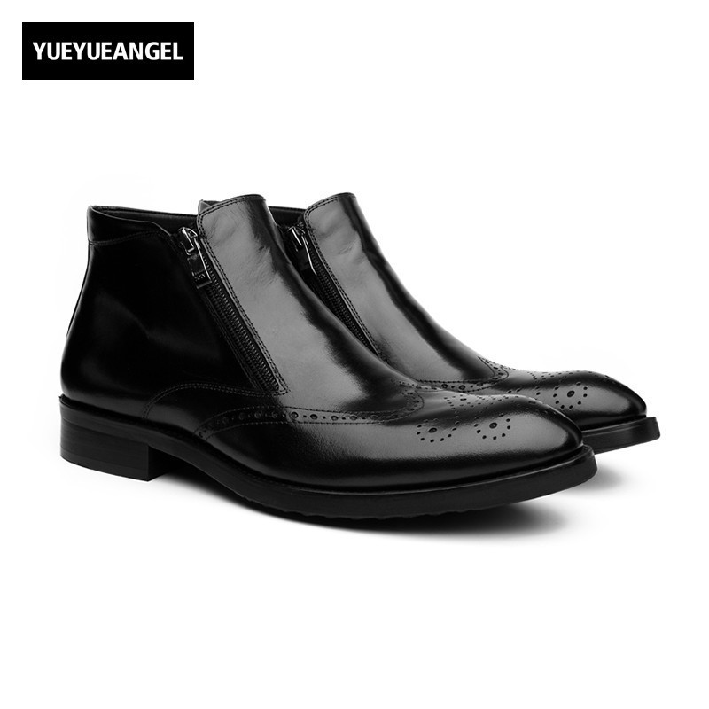 New Arrival Men Real Leather Shoes Pointed Toe Side Zipper For Men Drees Shoes Weddin Boots Comfort Breathable Ankle Boots Black kelme 2016 new children sport running shoes football boots synthetic leather broken nail kids skid wearable shoes breathable 49