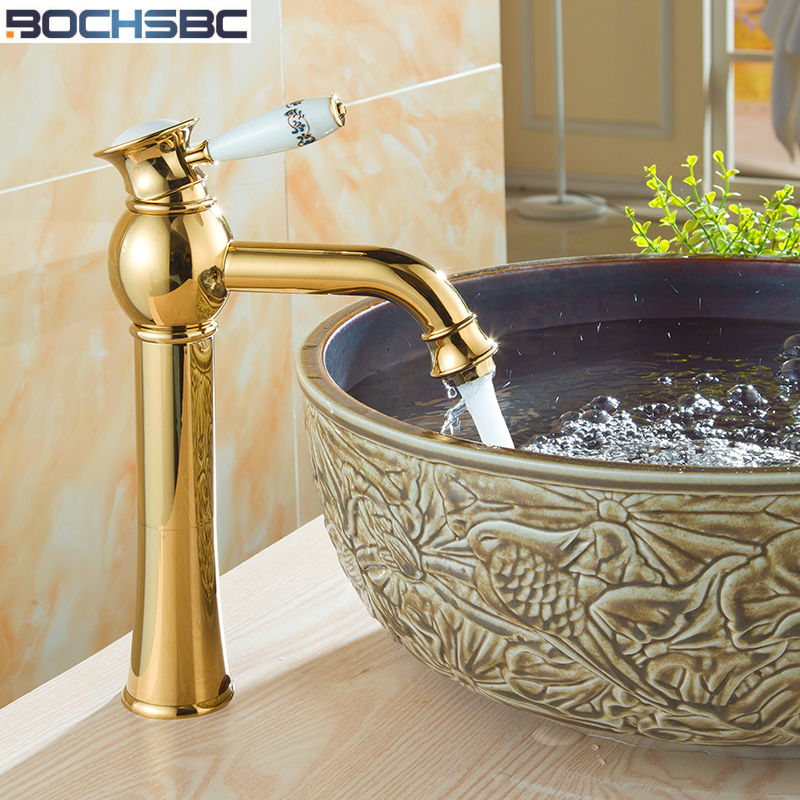 BOCHSBC Gold Ceramic Faucet Antique Kitchen Mixer Basin Mixer European Vintage Style fuller Sink  Art Bathroom Water Tap Faucet BOCHSBC Gold Ceramic Faucet Antique Kitchen Mixer Basin Mixer European Vintage Style fuller Sink  Art Bathroom Water Tap Faucet