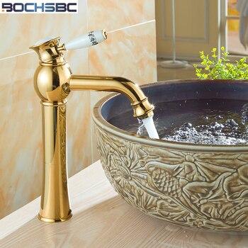 BOCHSBC Gold Ceramic Faucet Antique Kitchen Mixer Basin Mixer European Vintage Style fuller Sink  Art Bathroom Water Tap Faucet