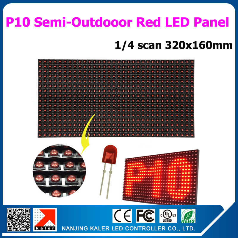 TEEHO Factory Price Semi-outdoor P10 Red Led Display Module Scrolling Message 320*160mm 32*16 Red Color  LED Panel