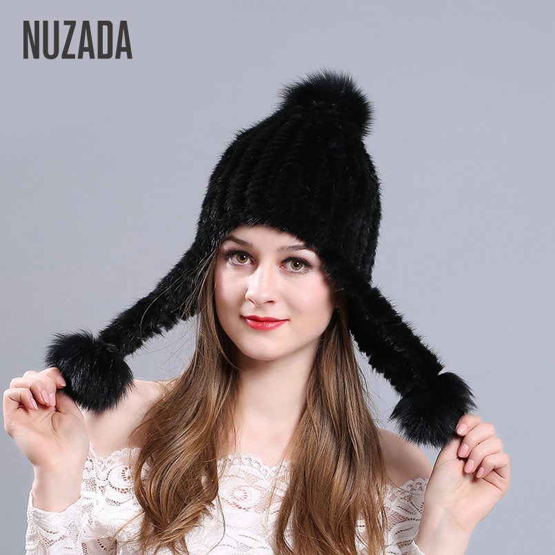 NUZADA Winter Skullies Beanies Knitted Hat Caps For Women Lady Girl  Fashion Thick Warm Real Truly Mink Fur Cap
