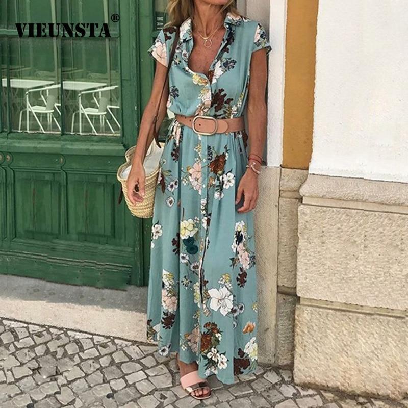 Mulheres Lapela Do Vintage Com Decote Em V Botão VIEUNSTA Boho Vestido de Verão Floral de Impressão de Manga Curta Vestido de Verão Elegante Com Cinto Maxi Vestidos Longos
