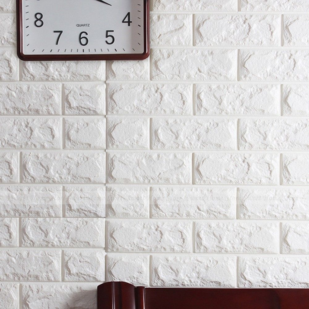 us 3 48 22 off white 3d bricks self adhesive wall sticker soft foam panels wallpaper home decor art white brick pattern pe foam wall stickers in