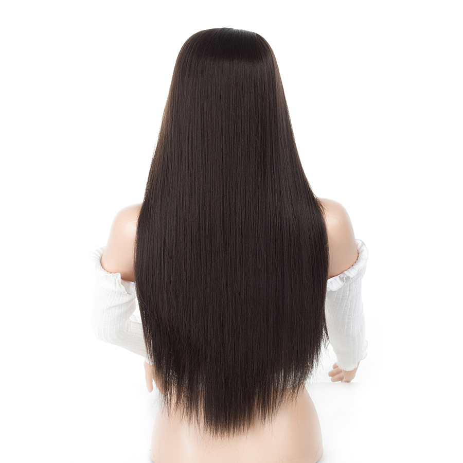 ELEGANT MUSES 150% Density Heat Resistant Kanekalon Fiber Light Brown Long Straight Synthetic Lace Front Wig Glueless For Wome