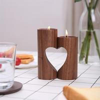 1 Pair Wooden Candle Holder Hallow Heart Romantic Couples Tealight Candlestick Holder Stand for Home Office Living Room Bedroom