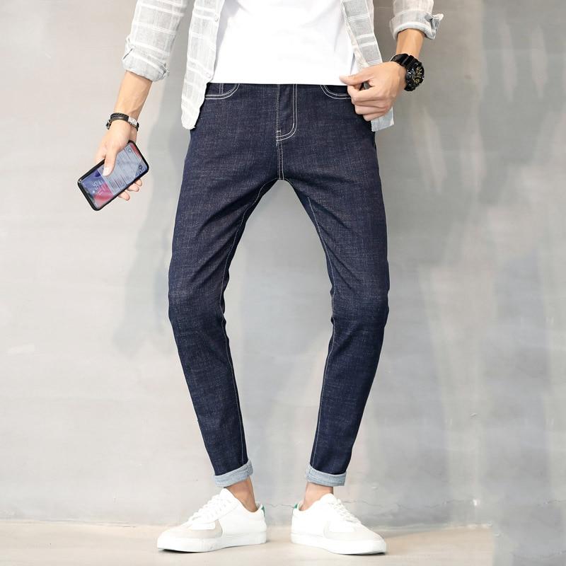 Original color fashion new listing mens jeans Slim pants black stretch Korean youth students machine washable