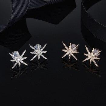 2bbb95f38b49 Copo de nieve estrellas Meteor estrella Stud pendientes para las mujeres  Simple elegante S925 plata esterlina Mónaco moda pendientes joyería