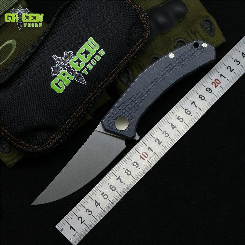 Vert épine JEANS Flipper couteau pliant m390 acier TC4 Titane poignée camping en plein air chasse poche cuisine couteaux EDC outils