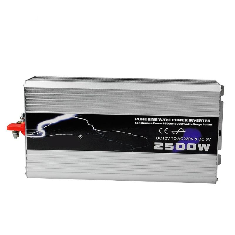 2500W Car Inverter Pure Sine Wave DC 12V to AC 220V Car Converter Solar Power Inverter Peak Power 8000W