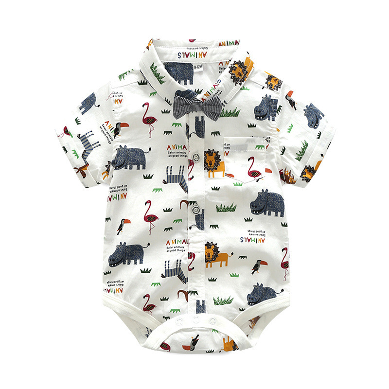New Born Clothing Baby Boy Girl Animal Short Sleeve T-Shirt Tops+Grey Plaid Short Pants Outfit Casual Outfit Kids Rompers Sets 2
