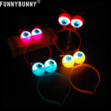 FUNNYBUNNY LED Light Up Luminous Halloween Vocal Concert Props Supplies Aliens Eyes Head Hair Hoop Band Party Decoration