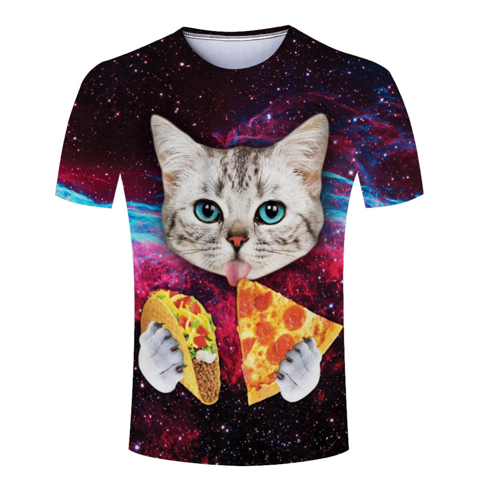 New Hot Sale Galaxy Space 3d T Shirt Cute Cat Eat Pizza