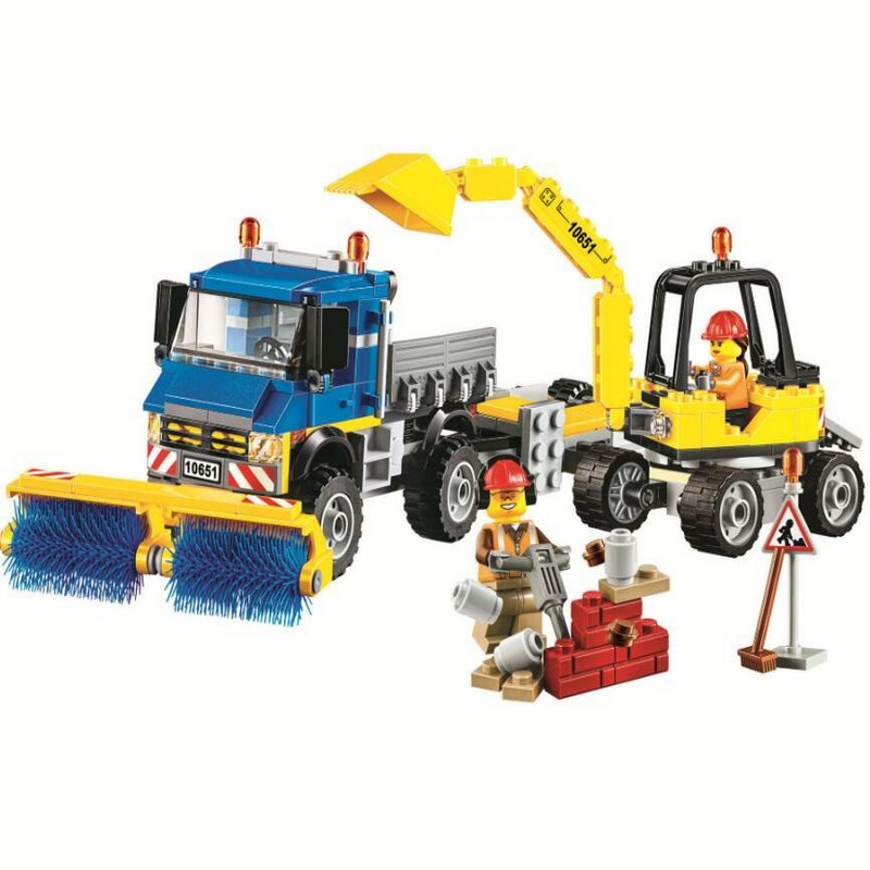 10651 BELA City Series Construction Sweeper Excavator Model Building Blocks Enlighten Figure Toys For Children Compatible Legoe 10639 bela city explorers volcano crawler model building blocks classic enlighten diy figure toys for children compatible legoe