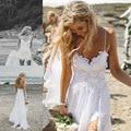 Летнее Платье Новые Sexy Кружева Невесты Платья Плиссе длиной до пола Спагетти Ремень Empiresolid Длинном Белом Платье Vestidos