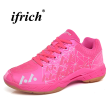 Couples Badminton Shoes Rose Red Royal Blue Woman Indoor Sport Shoes Spring Summer Breathable Man Sneakers for Badminton цена 2017