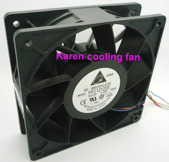 DELTA 12CM PFC1212DE 12038 12V 4.8A COOLING FAN original delta afc1212de 12038 12cm 120mm dc 12v 1 6a pwm ball fan thermostat inverter server cooling fan