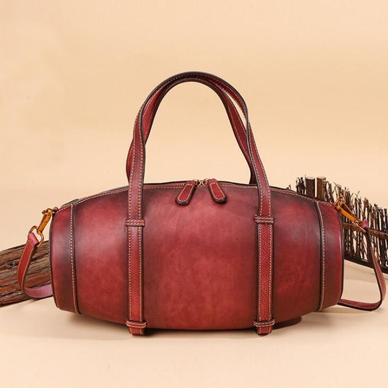 New Fashion Real Genuine Leather Women Handbag Elegant Ladies Bucket Shoulder Bag Messenger Satchel Office Tote