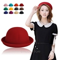 Fashion Colorful Women's solid Felt Bowler & Derby Woolen Fedora Hat Lady Round Cap