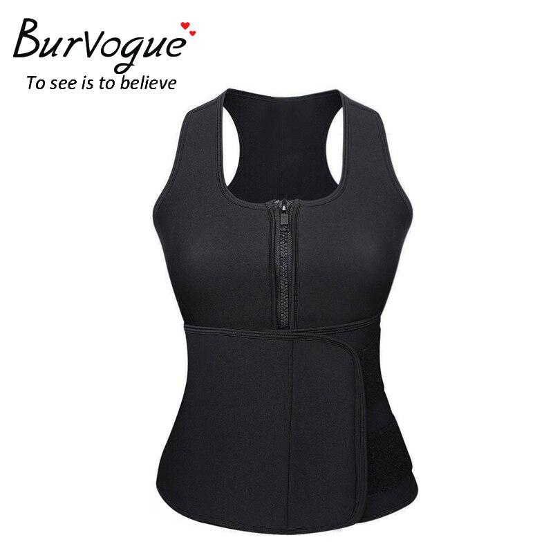 Burvogue Women <font><b>Hot</b></font> Neoprene Sauna <font><b>Shapers</b></font> Belt Tummy Control Slimming <font><b>Shaper</b></font> Vest Waist Trainer Top Adjustable Zipper Shapewear