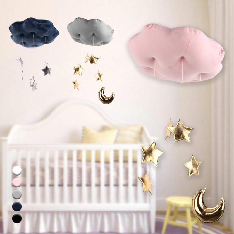 Baby Bed Hanging Toy Cloud Wall Decor Stuffed Toys Kids Gifts Children Room Decoration Decorative Ornament Photo props R4 cloud moon stars tent s hanging room ins bed decoration plush stuffed doll baby infant girls toys birthday xams gift dash