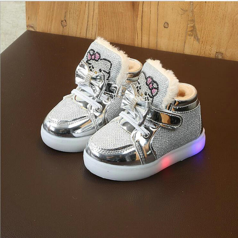 New KT Cat LED Lights Kids Glowing Sneakers Casual Shoes Winter Bow Fashion Children's Sports Shoes Fur Warm Baby Girls Shoes