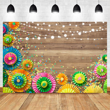 Neoback Wood Rural Style Photography Backdrops Studio Shoots Colorful umbrella flower Custom Birthday Party Photo Background