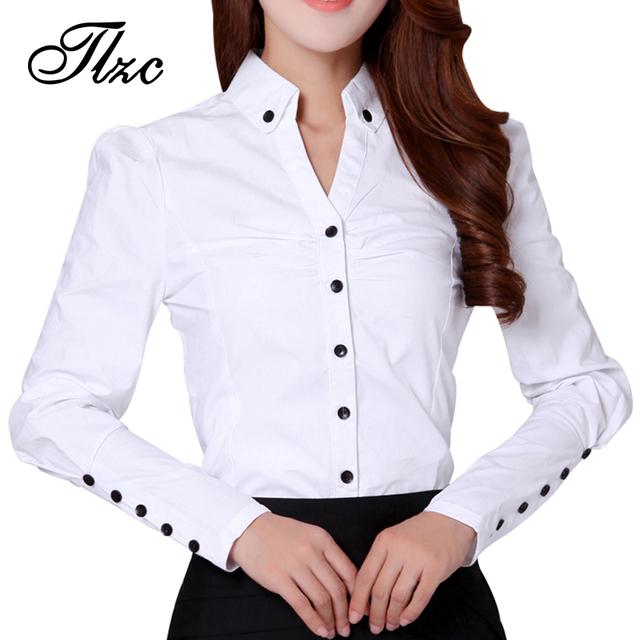 Beleza estilo ol senhora camisas brancas plus size s-3xl verão escritório formal clothing 2017 nova coreano mulheres de carreira tops