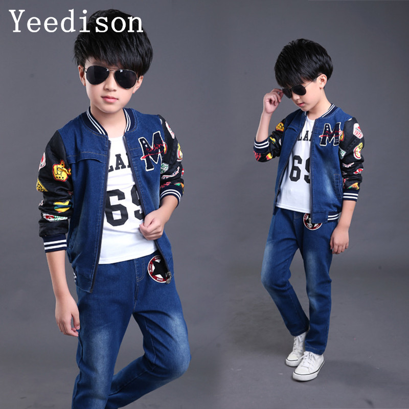 Toddler Kids Baby boys Girl Clothes Set Denim Tops coat+T-shirt +pants Outfits spring Cowboy Suit Children 3pcs Set 4-14T toddler kids baby girl clothes fashion camouflage t shirt tops pants 2pcs outfits clothing set sport suit children tracksuit