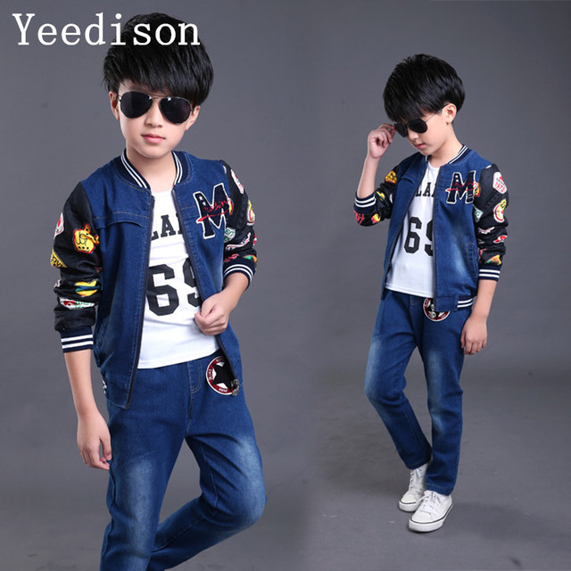 101a069925267 US $27.73 20% OFF|Toddler Kids Baby boys Girl Clothes Set Denim Tops coat+T  shirt +pants Outfits spring Cowboy Suit Children 3pcs Set 4 14T-in ...