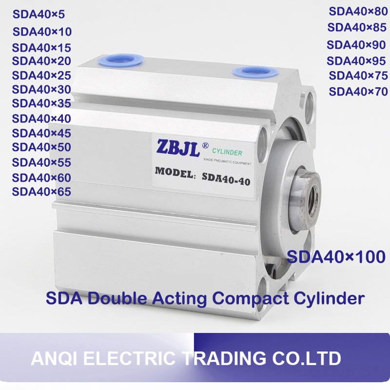 SDA40 Series Pneumatic Double Acting Compact AIR Cylinder SDA40*5mm 10mm 15mm 20mm 25mm 30mm 35mm 40mm 45mm 50mm 60mm 70mm 80mm airtac type cylinder sda 40 40 compact cylinder double acting 40 40mm accept custom