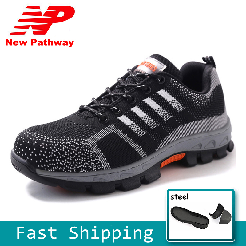 Provided Fashion Striped Safety Shoes Men Breathable Work Shoes Lightweight Protective Footwear Safety Sandals Large Size 35-46 Ms78 Men's Boots