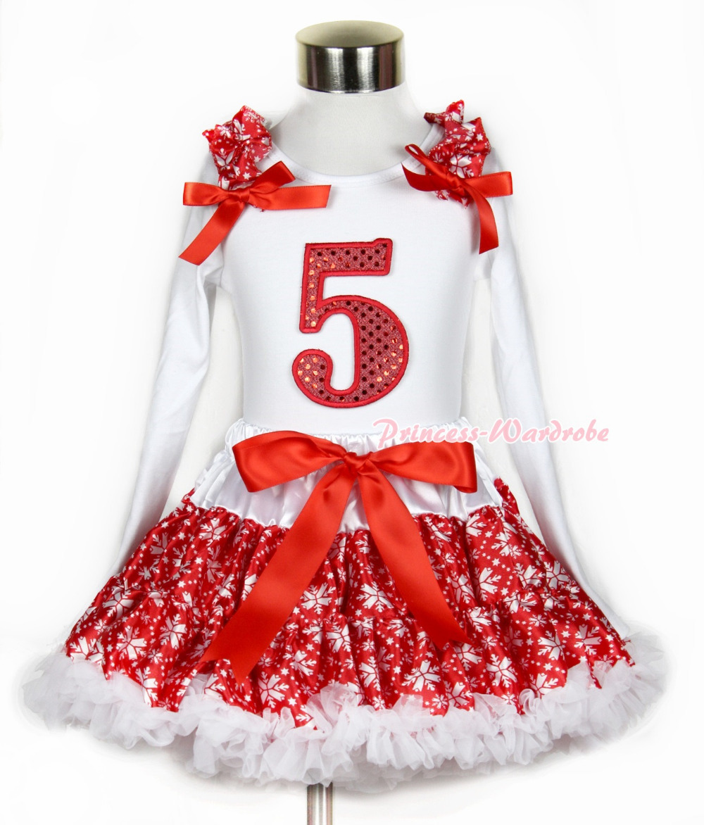 Xmas Red Snowflakes Pettiskirt 5th Sparkle Red Birthday Print White Long Sleeve Top Red Snowflakes Ruffles Red Bow MAMW268 red black 8 layered pettiskirt red sparkle number ruffle red bow tank top mamg575