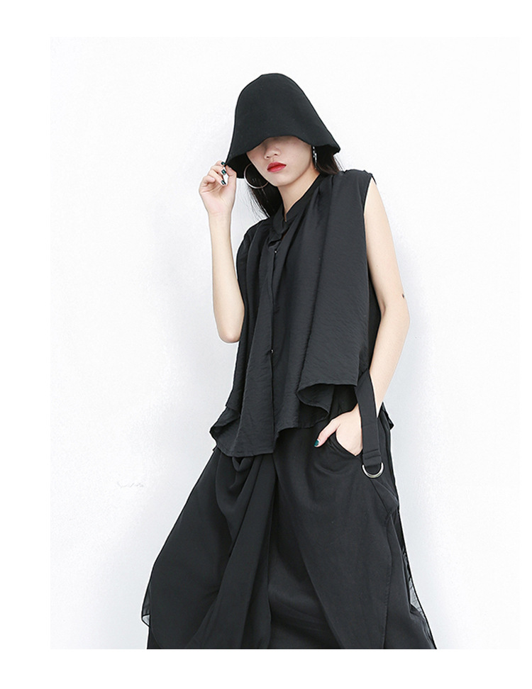 New Fashion Style Black Sleeveless With Sashes Summer Top Fashion Nova Clothing