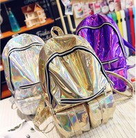 2016 Mochila Masculina Backpack Women Silver Hologram Laser Backpack Men S Bag Leather Holographic Backpack Multicolor