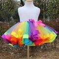 2016 NEW Kids Dancewear Tutu Skirt Girls Rainbow Elasticated Bow Tulle Tutu Skirts 0-8Y