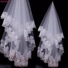Real Image Wedding Veils 1 Layer Lace Arabic Cheap Applique Edge Tulle Women Bride Fingertip