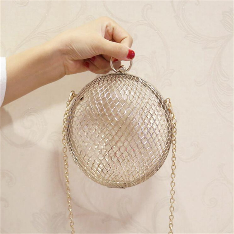 a84b0baaff Fashion hollow design Round Shaped Women clutch bag Gold alloy ladies Chain  Shoulder Crossbody Bags for Luxury Brand Ball Purse-in Shoulder Bags from  ...