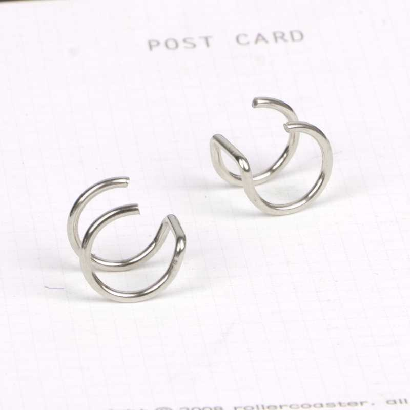 Titanium 2 Rings Ear Cuff Clip On Helix Cartilage Ring No Piercing Body Jewelry