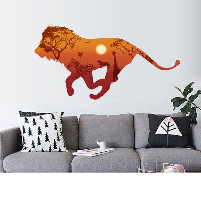 % African running lions Horse Giraffe Sunset Wall Sticker Kids Room 3D Vivid Wall Decals Home Decoration Art Mural Poster