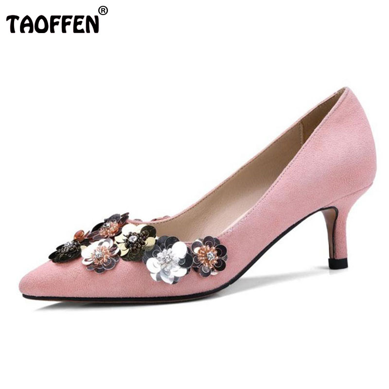 TAOFFEN Sexy Women Genuine Leather High Heel Shoes Women Kitten Heels Pumps Bling Party Shoes Spring Wedding Footwear Size 34-39 taoffen women high heels shoes women thin heeled pumps round toe shoes women platform weeding party sexy footwear size 34 39